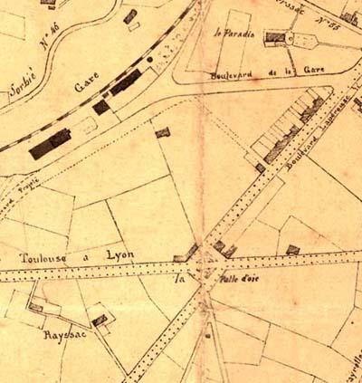 Plan 1869 Autour de la patte d'oie il n'y a que des champs. L'avenue de la gare n'existe encore pas.